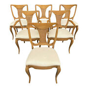 Mid 20th Century French Modern Sculptural Cane Back Dining Chairs - Set Of 6