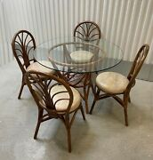 Vintage Tiki Palm Beach Boho Chic Bamboo Rattan Dining Room Table And Four Chairs
