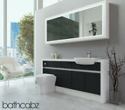 Bathroom Fitted Furniture Anthracite Gloss/white Matt 1700mm H2 With Wall Unit -