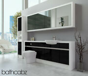 Bathroom Fitted Furniture Black Gloss/white Matt 2100mm H1 With Wall And Tall - Ba