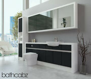 Bathroom Fitted Furniture Anthracite Gloss/white Matt 2100mm H1 With Wall And Tall