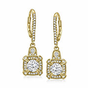 1.98 Ct. T.w. Cz Vintage-style Drop Earrings In 18kt Gold Over Sterling