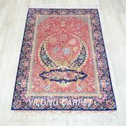 Yilong 4'x6' Tree Of Life Handmade Silk Red Rug Luxury Home Office Carpet Tj228a