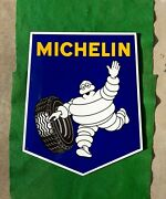 Porcelain Michelin Man Tire Sign 14.5 X 17.5 Gas And Oil Advertising