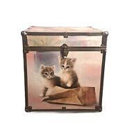 Vintage 80andrsquos Kitten Cat Toy Chest Wood Box Trunk Excellent Condition 15.5x15.5x