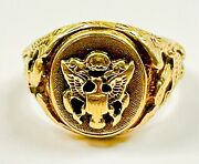 Vintage 1940and039s Wwii Era 10k Solid Gold U.s. Army Eagle Signet Ring Size 9