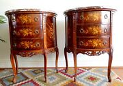Antique French Bedside Chests Night Stands Side Tables Design Marble Top Petite.