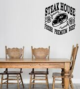 Wall Vinyl Decal Logo For Grilling Barbecue Beef Steak House Sticker N1493