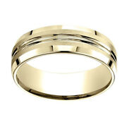 18k Yellow Gold 7.00 Mm Comfort-fit Menand039s Anniversary And Wedding Band Ring Sz-10