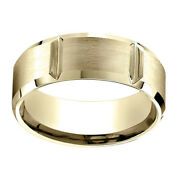 18k Yellow Gold 8.00 Mm Comfort-fit Men's Wedding And Anniversary Band Ring Sz-7