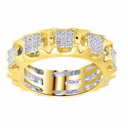 Menand039s 10k Yellow Gold Genuine Diamond Square Cluster Eternity Band Ring 1 Ct 7mm