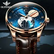 Oupinke Men's Mechanical Moon Phase Wirstwatches Automatic Mens Watches For Gift