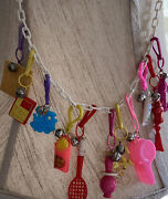 Vtg 1980s Plastic 24 White Link Chain Necklace With 11 Clip On Charms W/ Bells