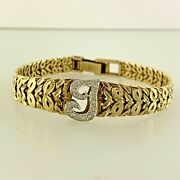 Personalized Initial Letter I Natural Diamond Bracelet In 14k Solid Yellow Gold