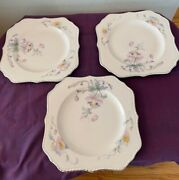 """Three Steubenville Rose Dawn Silver Trimmed 8"""" Square Luncheon Plates"""
