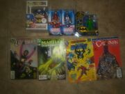 Marvel/dc Lot- Includes 3 Action Figures, 1 Pop And 4 Comic Books