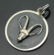 Germany Textured Background Relief Zodiac Sign Aries Sterling Silver Pendant