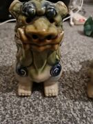 Vintage Pair Of Chinese Ceramic Lion Foo Dogs Figurines Green Blue
