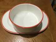 Vintage Villeroy And Boch 1748 Luxembourg Serving Bowl And Platter White Orange Rim
