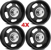 17 Vintage Wheels Rims Rally American Racing Classic Staggered 17x7 17x8 Black