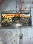 Ak Interactive Ak087 Engines And Metal Weathering Set Dry Pigment And Enamel Paint