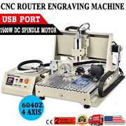Usb 4 Axis 1500w Vfd 6040z Cnc Router Engraver Drill Wood Metal Cutter Machine