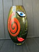 13 Art Glass Vase Sculpture Murano Abstract Face Picasso Style