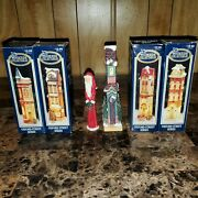 Lot Of 4 Dickens Collectables Oxford Street Series Porcelain Lighted Houses +