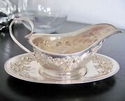 S. Kirk And Son Sterling Silver Repousse gravy Boat With Underplate