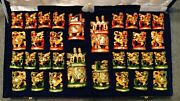 Royal Gold-leaf Hand-carved, Hand-painted Indian Kadam Wood Chess Set In Box