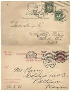 Norway 1901 5ore And 1911 10ore Postal Cards To Usaformer W/5ore Diff Town Cdsand039s