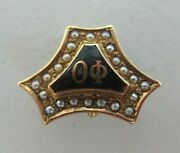 Usa Fraternity Pin Theta Phi. Made In Gold 14k. Named. Marked. Alpha. 1473