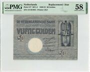 Netherlands 50 Gulden 1929 Minerva Replacement Pick 47 Pmg Choice About Unc 58