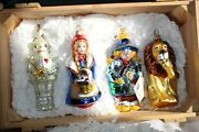 4 Kurt Adler Wizard Of Oz Polonaise Blown Glass Christmas Ornaments With Crate