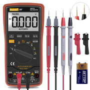 Auto Ranging Digital Multimeter Trms 6000 With Battery Alligator Clips Orange