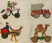 Set Of 4 Department 56 Handpainted Pewter Christmas Ornaments