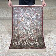 Yilong 2'x3' 600lines Handmade Silk Tapestry Hunting Animal Exquisite Rug Mc578h