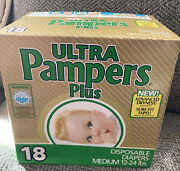 New Vintage Ulta Pampers Plus Med 12-24 Lbs 18 Ct 1980s Disposable Baby Diapers