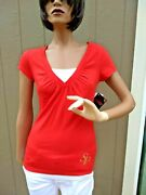 South Pole Womens Top Summer Blouse Red White Size M Blusa De Mujer Verano C