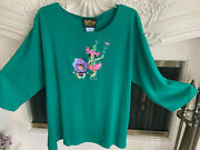 Sz 2x Qvc Bob Mackie Green Embroidered Pixie And Baby Knit Shirt 3/4 Sleeves Nwt