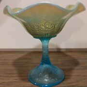 Antique Northwood Ice Blue Hearts And Flowers Carnival Glass Compote