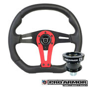 Pro Armor Force Steering Wheel Black W/ Red Can-am Polaris + Quick Disconnect