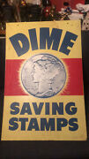 Vintage Metal Double Sided Dime Savings Stamps Store Display Advertisement Sign
