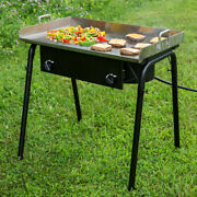 32 Stainless Steel Portable Double Burner Outdoor Range With 30 Griddle Plate