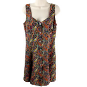 Anna Sui Size 8 Floral Paisley Print Sleeveless Dress Buttons Rayon Retro Skater