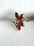 Garnet And Diamond Accent 10k Gold Ladies' Ring , Sz 7 Used