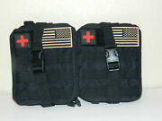 Two 2 Black Tactical First Aid Kit Survival Molle Ripaway Outdoor Pouch Ifak