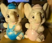 Pr 1960and039s Sanitoy Elephant Rubber Squeaky Toy 8 Pink Blue Overalls Made In Usa
