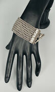 """Rare Heavy Lois Hill Sterling Silver Woven Wide Toggle Bracelet 90-grams 7.75"""""""