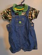 Set Of 2 Licensed Dealers John Deere 6/9m Baby Boys Camo/grn Outfits 1pc